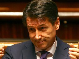 Newly appointed Italian PM Conte gestures during his first session at the Senate